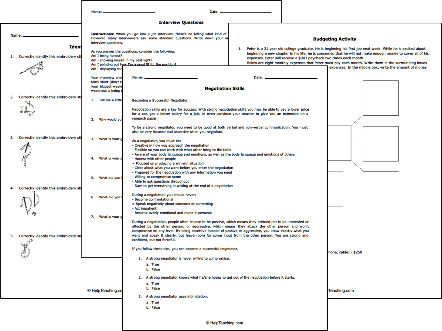 Printable Life Skills Worksheets and Resources