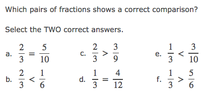 Go to this PARCC questions example - Multiple Answers - 4th Grade Fractions