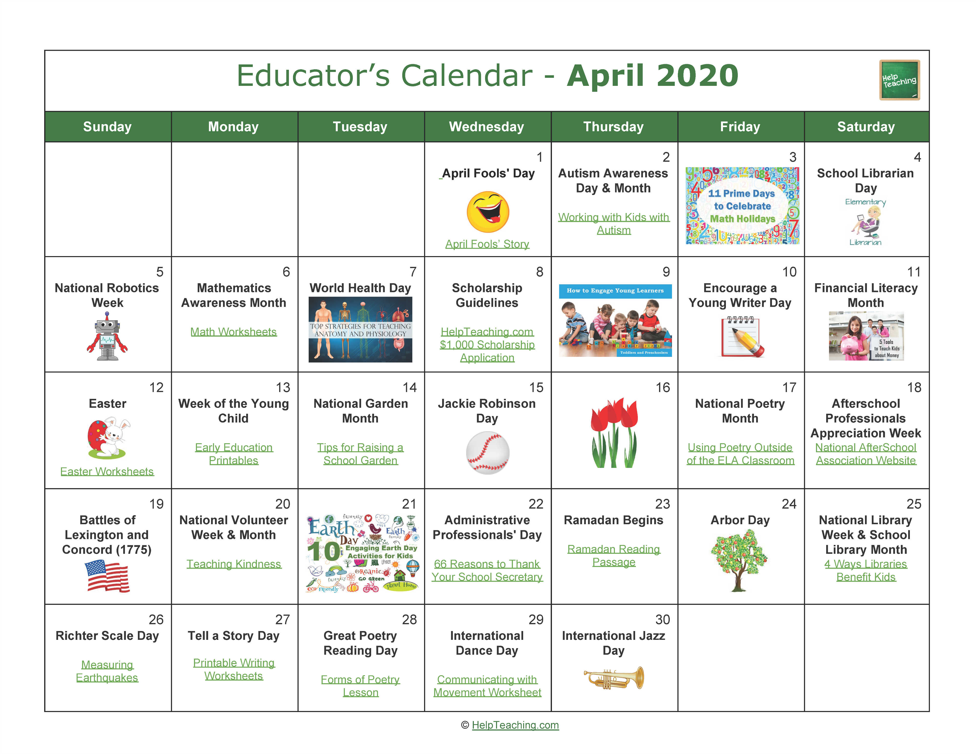 April Educator's Calendar