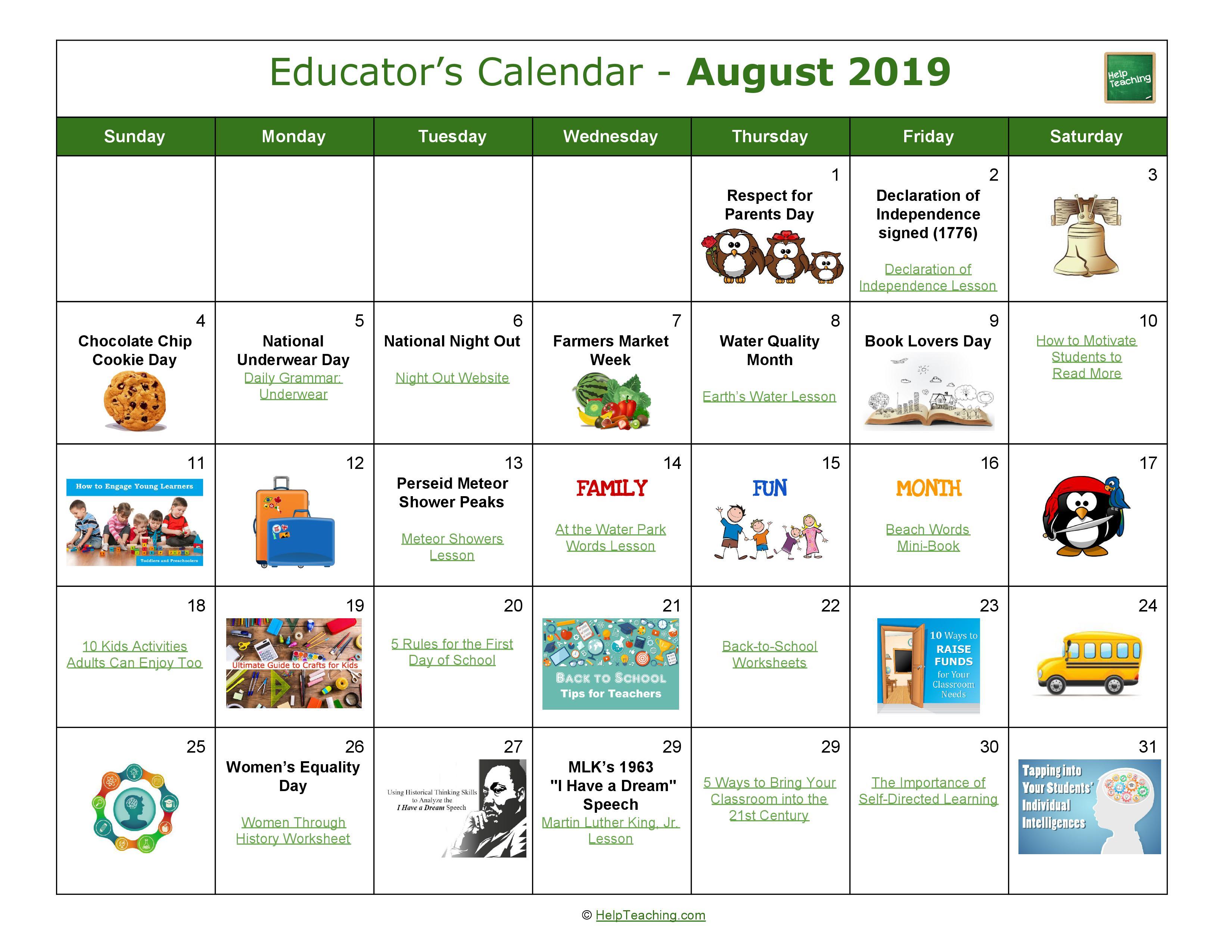 US Educator's Calendar 2019-2020