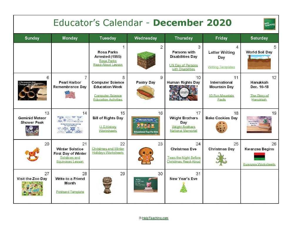 December Educator's Calendar