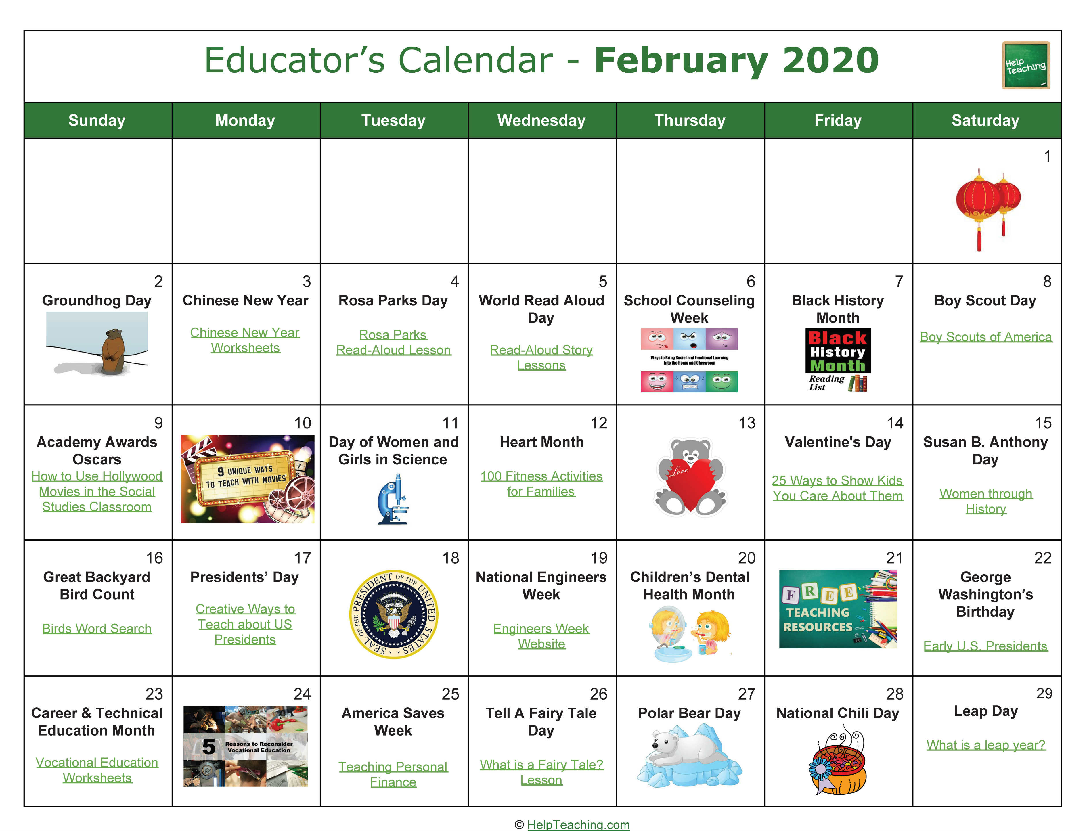February Educator's Calendar