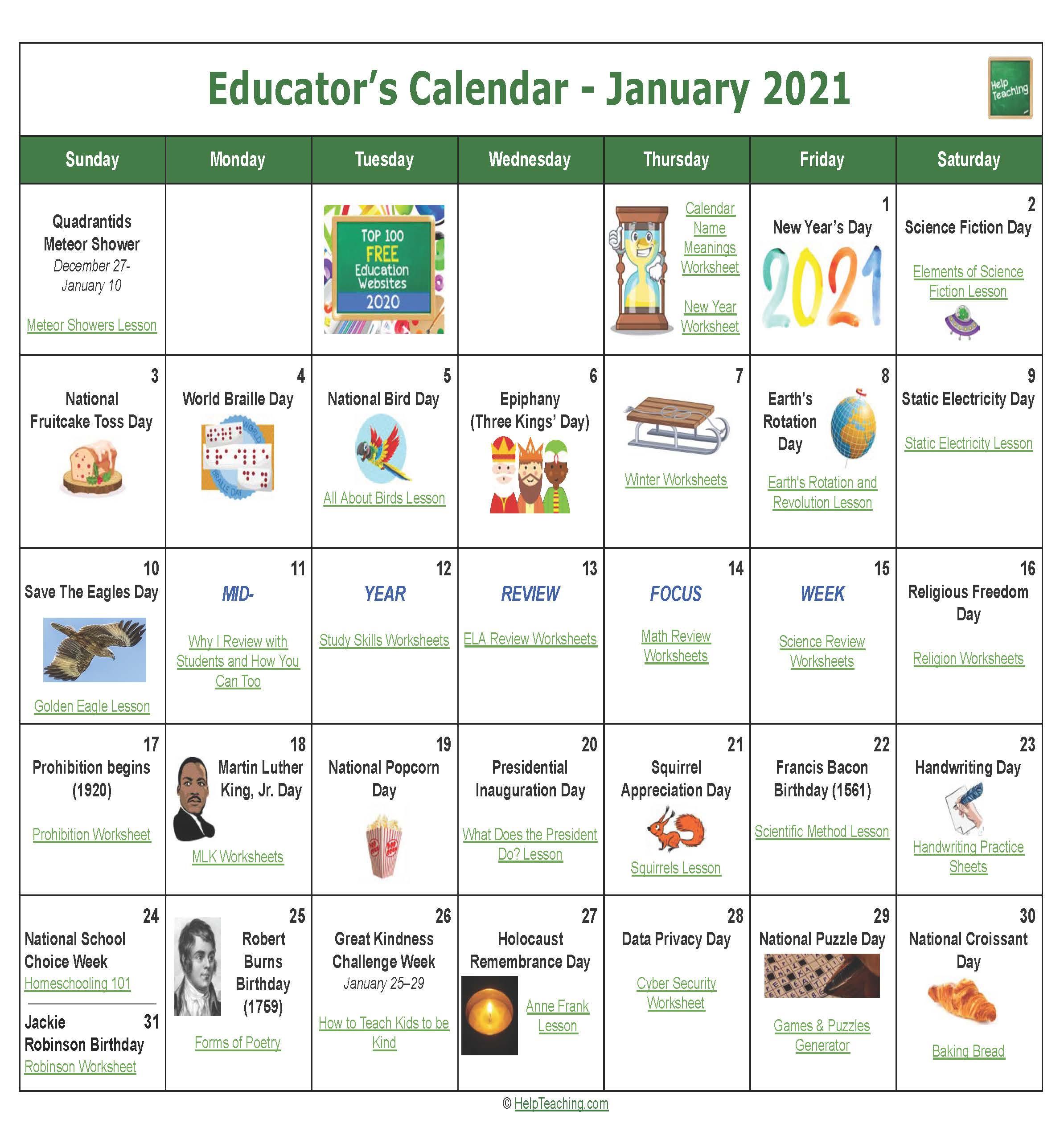 January Educator's Calendar