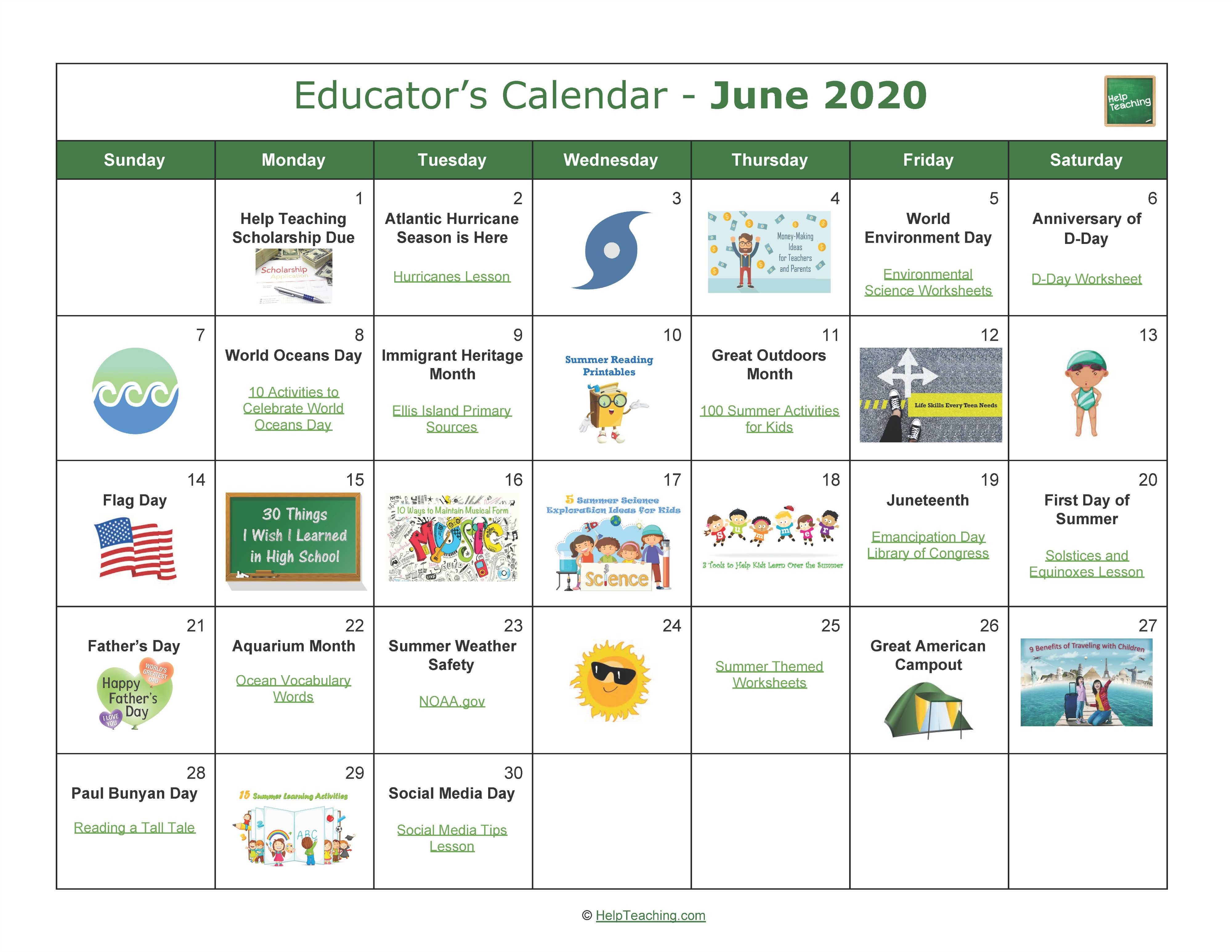 June Educator's Calendar