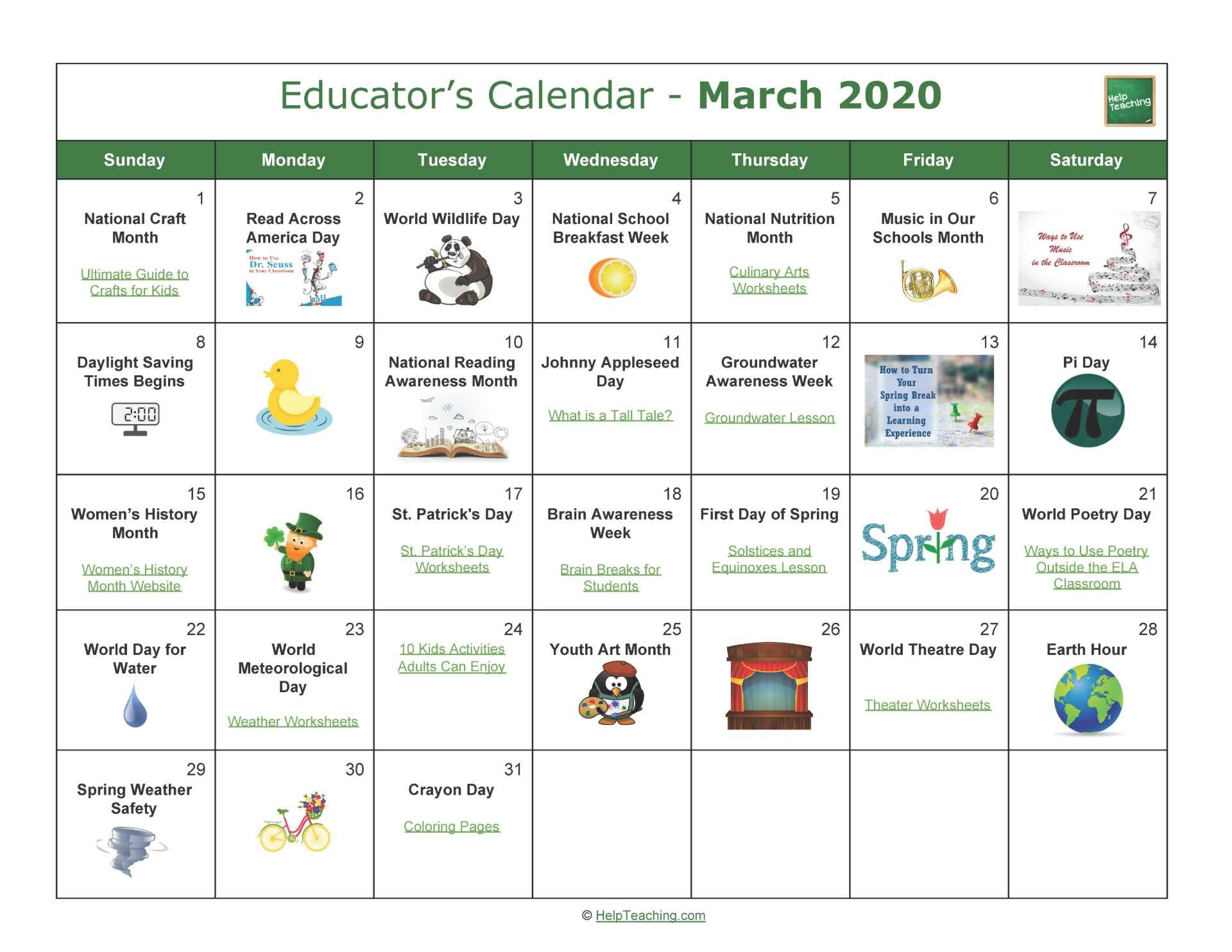 March Educator's Calendar