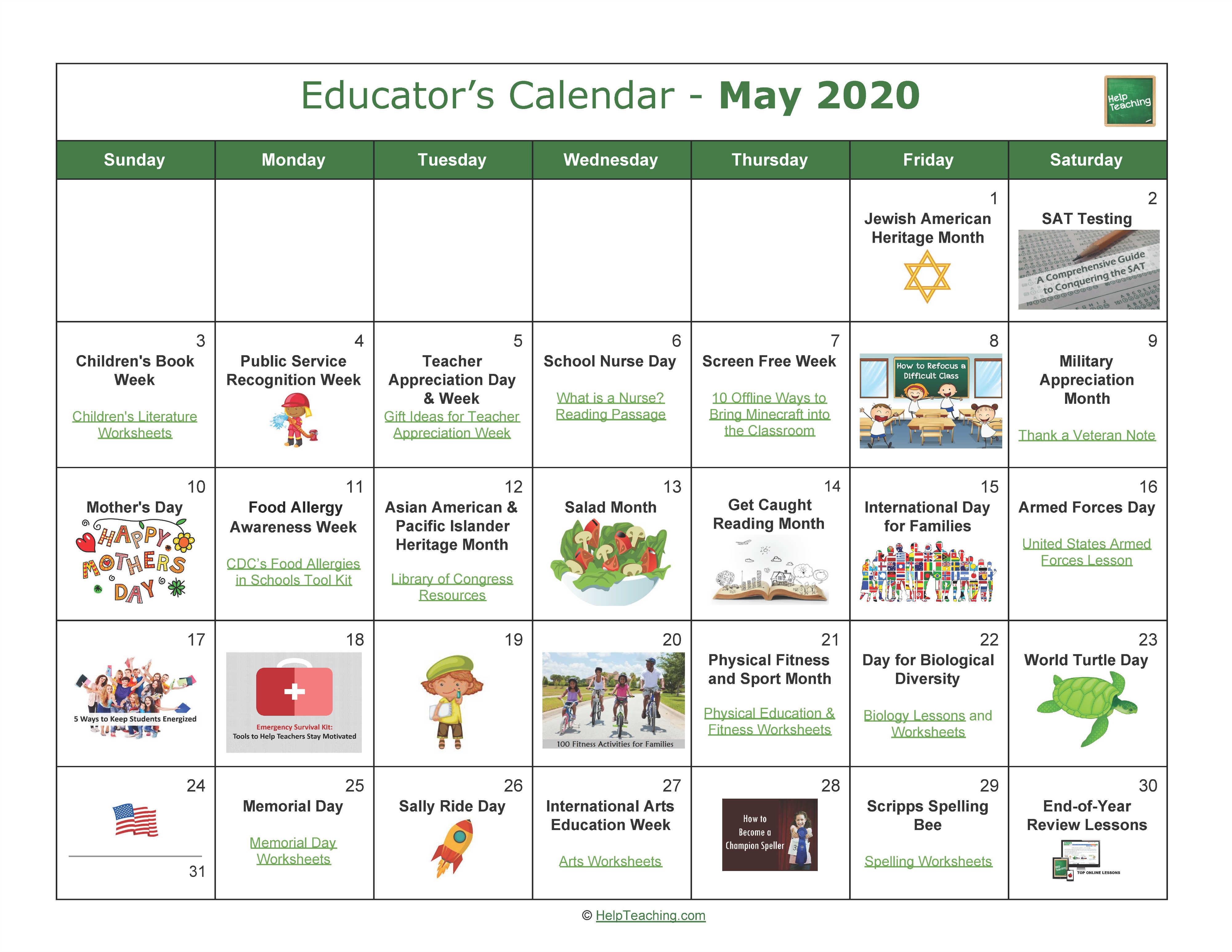 May Educator's Calendar