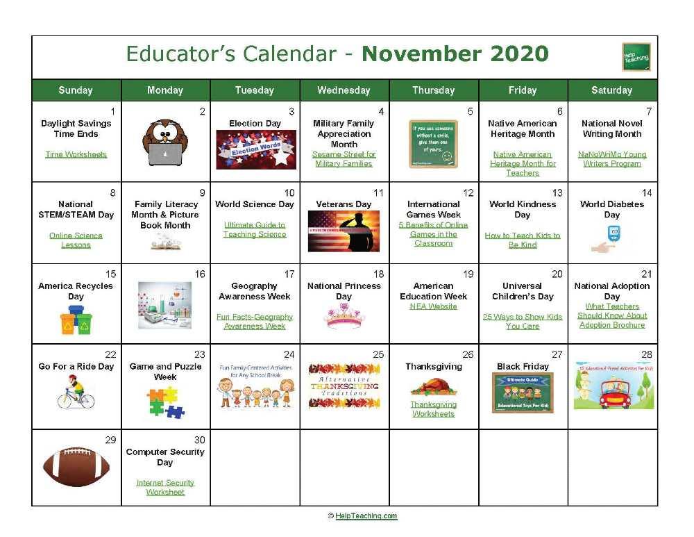 November Educator's Calendar