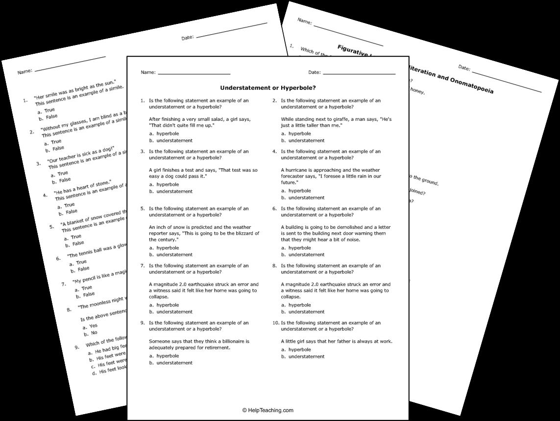 Printable Figurative Language Worksheets
