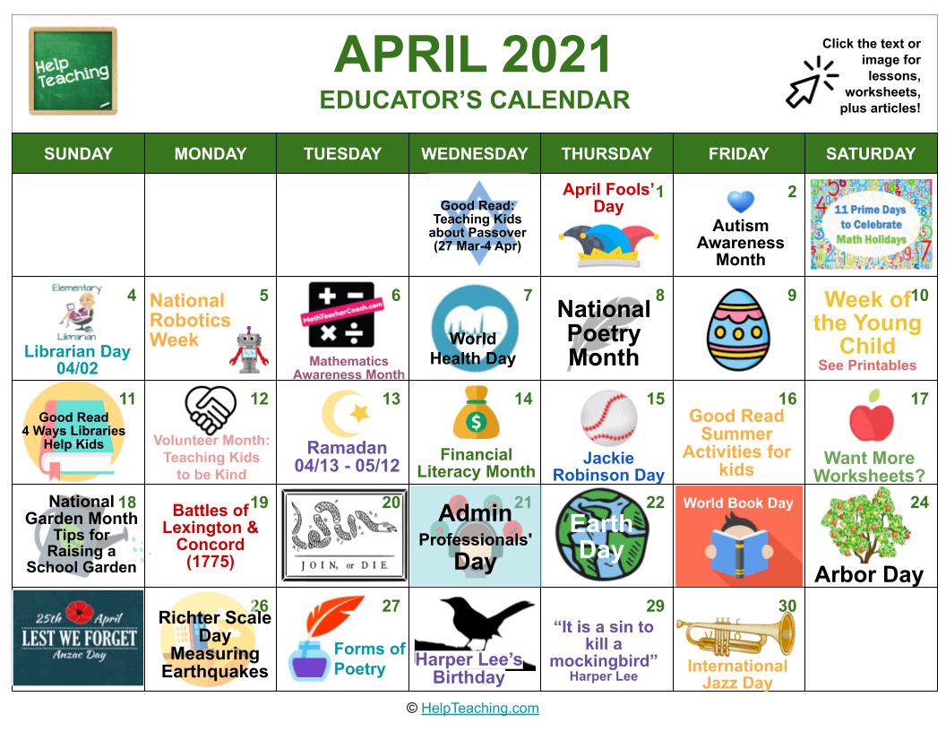 April 2021 Educator's Calendar