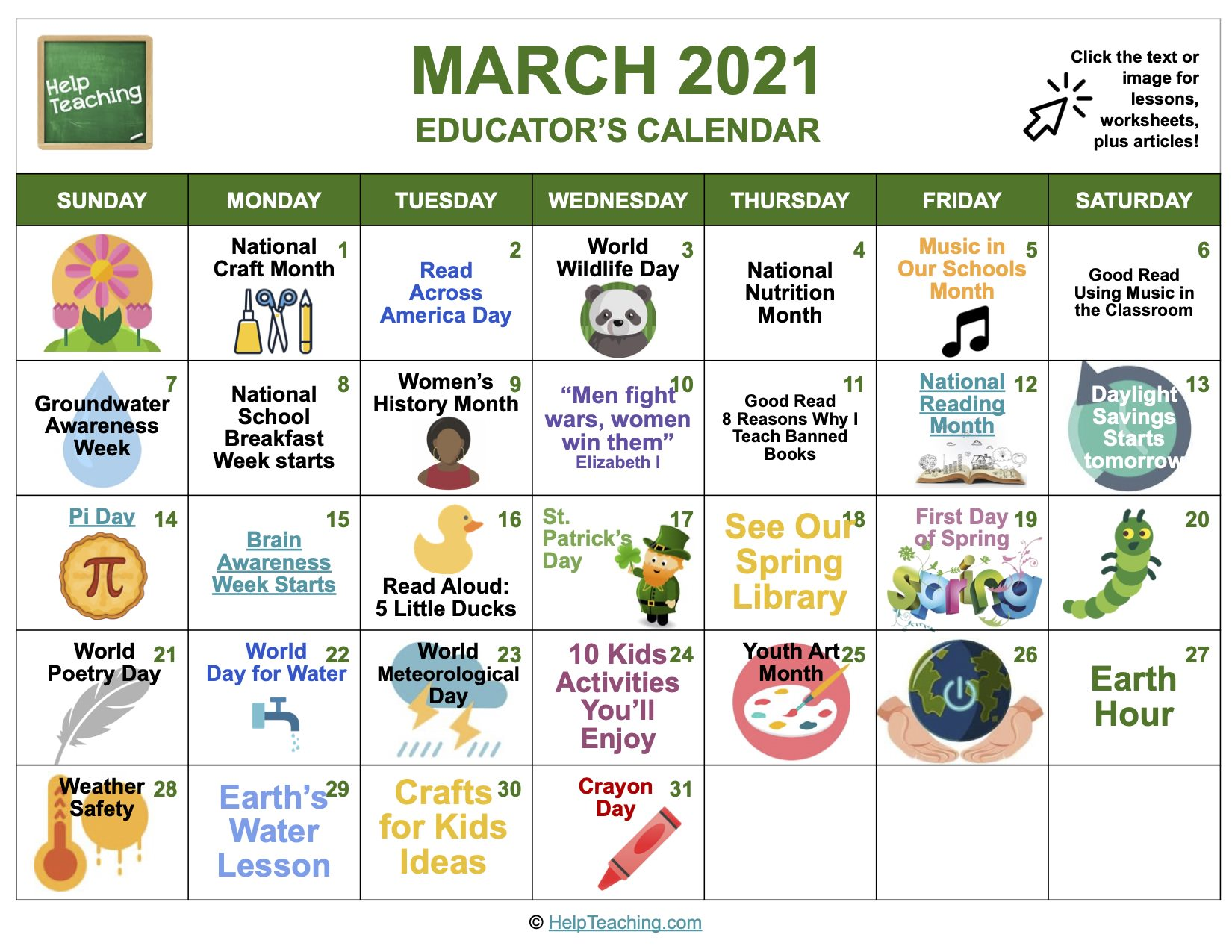 March 2021 Educator's Calendar