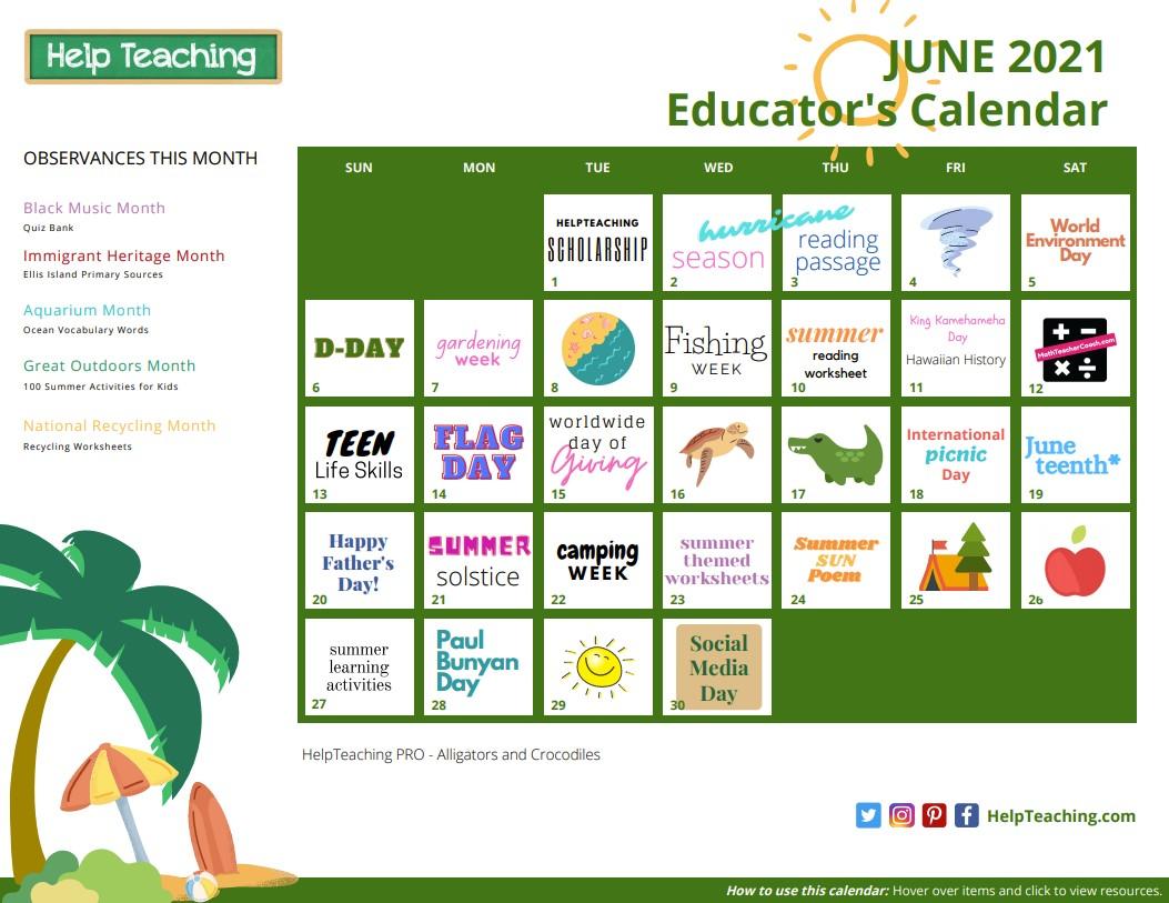 June 2021 Educator's Calendar