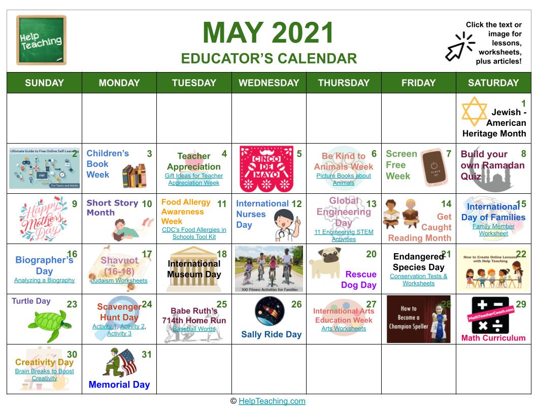 May 2021 Educator's Calendar